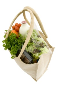 Jute shopping bag with groceries II